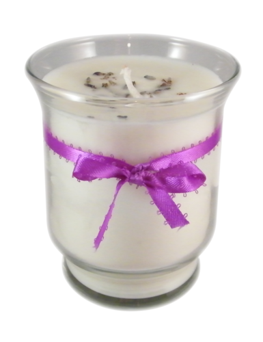 Natural handmade lavender soy candle with cotton covered hemp core wick